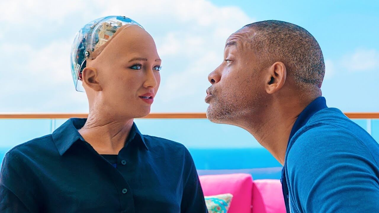 will smith with sophia the robot